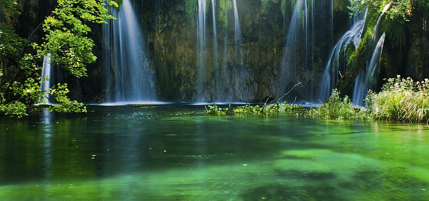 Le lac vert du Parc national des lacs de Plitvice, Croatie