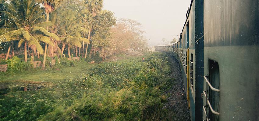 Paysage en Inde depuis un train