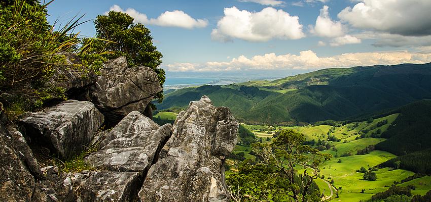 Vallée de Takaka au nord de l'île du Sud