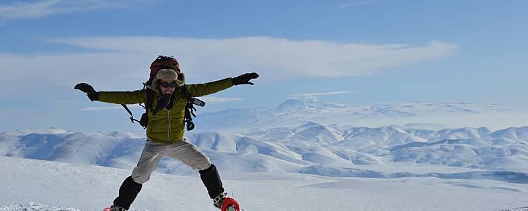 Snowshoeing across Armenian mountains