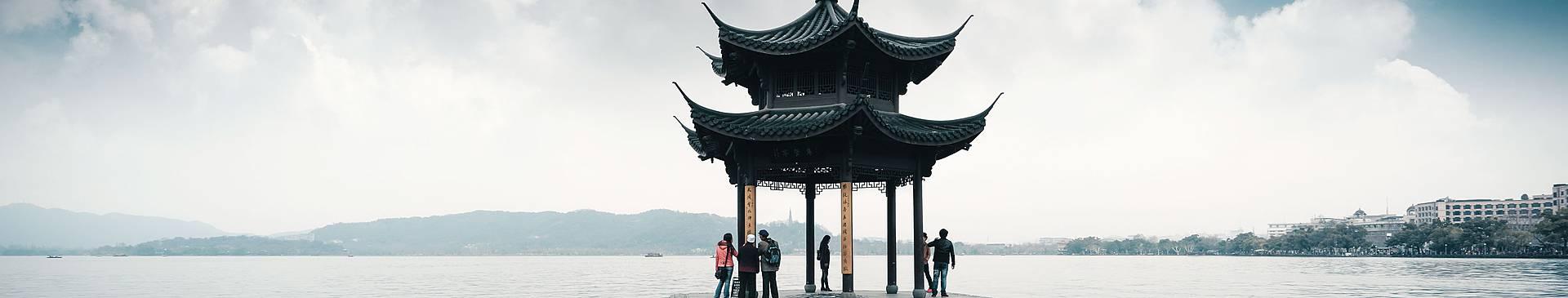 Chine avec un guide