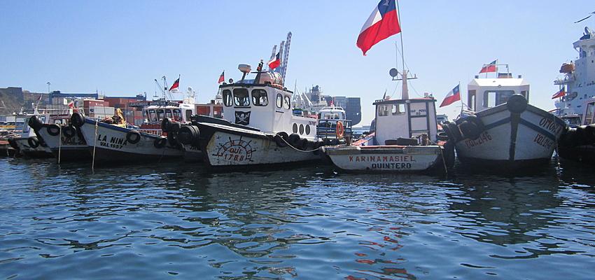 Imbarcazioni in un porto cileno