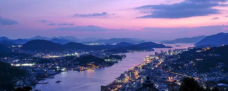 L'art japonais de villes en îles sur la mer de Seto