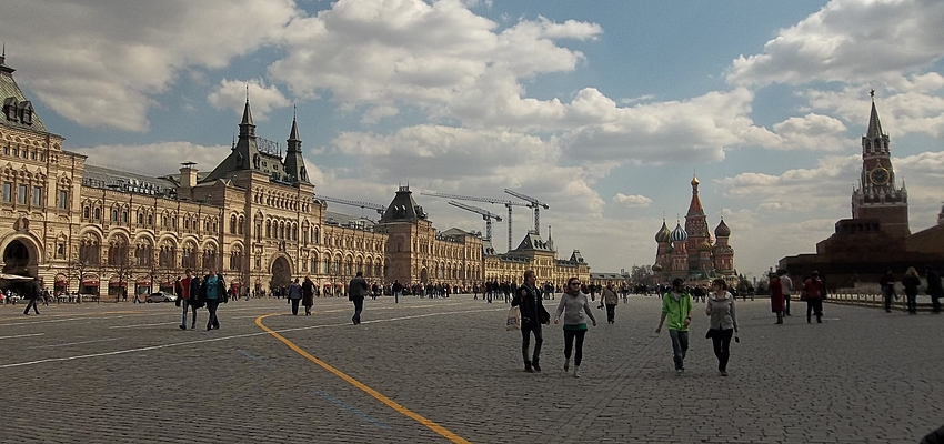 El suelo empedrado de la Plaza Roja de Moscú