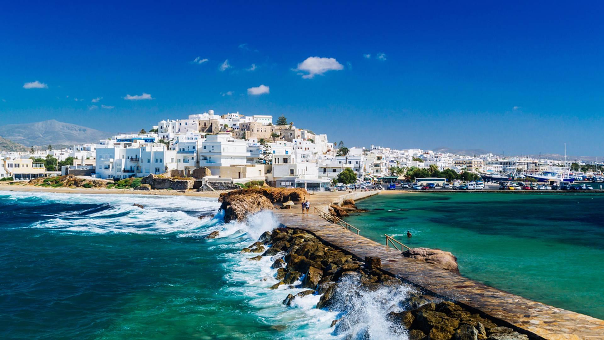 Mosaico de las Cícladas: Santorini, Paros, Naxos y Folegandros