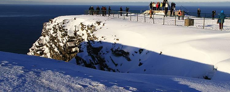 De Noordkaap in de sneeuw