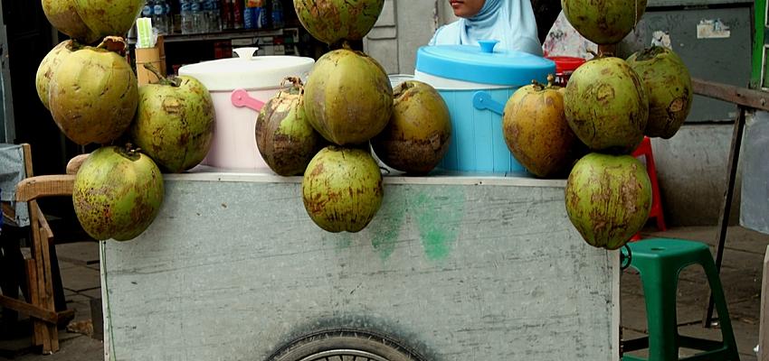 Jeune vendeuse d'eau de coco