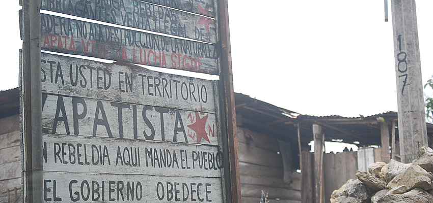 Motorway sign to the glory of the Zapatistas