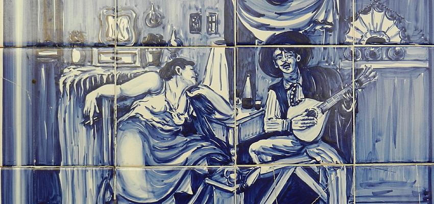 Azulejo representando una escena de fado