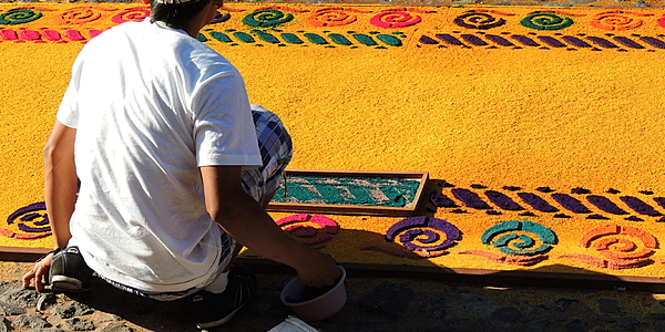 "Confection d'une ""alfombra"", Antigua"