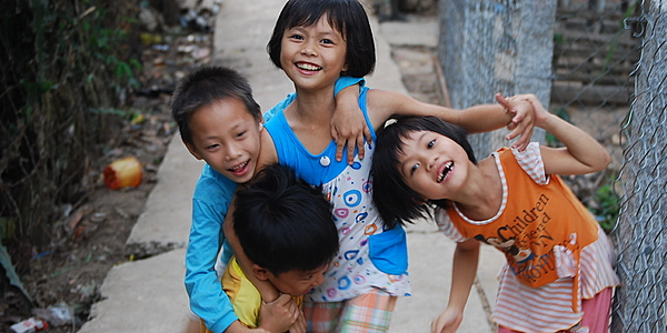 Des enfants sur An Binh