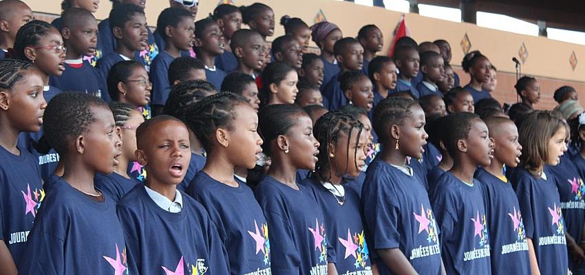 Enfants mahorais lors de la cérémonie de l'Europe