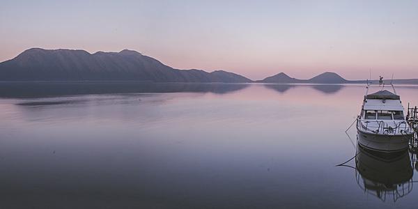 Coucher de soleil sur le lac de Shikotsu