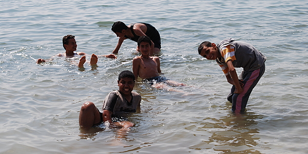 Bathing in the Dead Sea