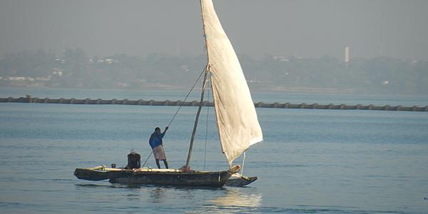 Un Dhow en el océano Índico