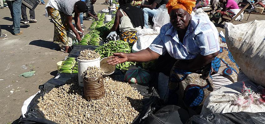 Sur un marché en Zambie