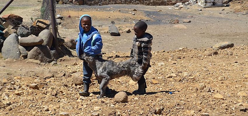 Des enfants jouent au Lesotho