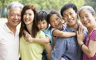 Portrait d'une famille chinoise