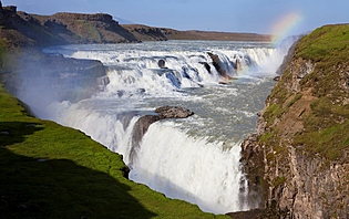 A rainbow over Gullfoss waterfall on the Hvita River in southwest Iceland