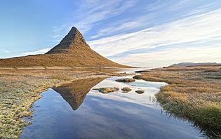 kirkjufell mountain in iceland, snaefellsnes penisula.