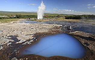The famous geyser named Strokkur at Geysir, Iceland