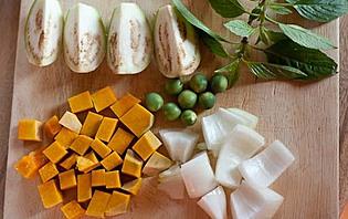 Ingrédients pour la préparation d'un plat thaïlandais
