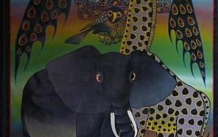 Peinture naïve caractéristique de l'art Tingatinga