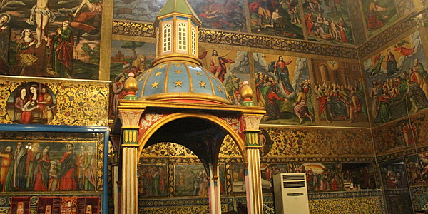 Peintures murales et baptistère de l'Eglise Vank à Ispahan