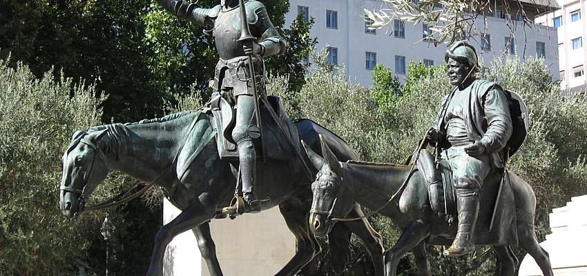 Don Quichotte sur la place d'Espagne a Madrid