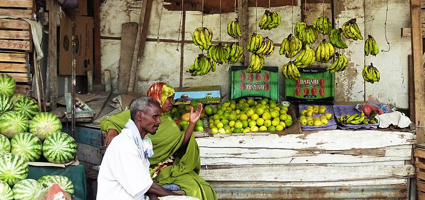 Commerce de rue, dans la ville de Djibouti