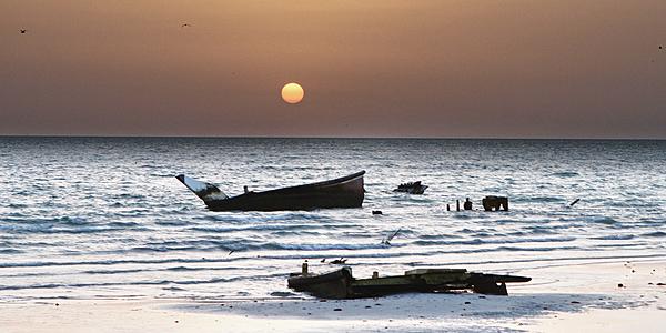 Coucher de soleil sur l'île de Masirah, Oman