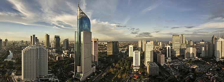 Jakarta, capitale de l'Indonésie, située sur l'île de Java