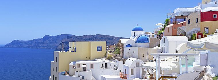 Grèce, Architecture de la tour Oia à Santorini