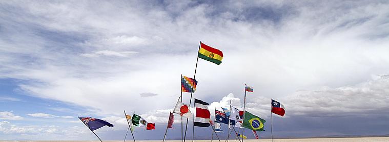 Salar d'Uyuni, drapeau du monde.